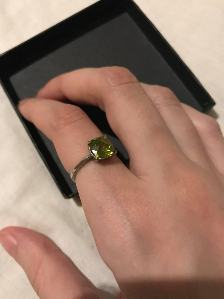 Bild 3: Silber Ring mit grüner Zirkone neuwertig