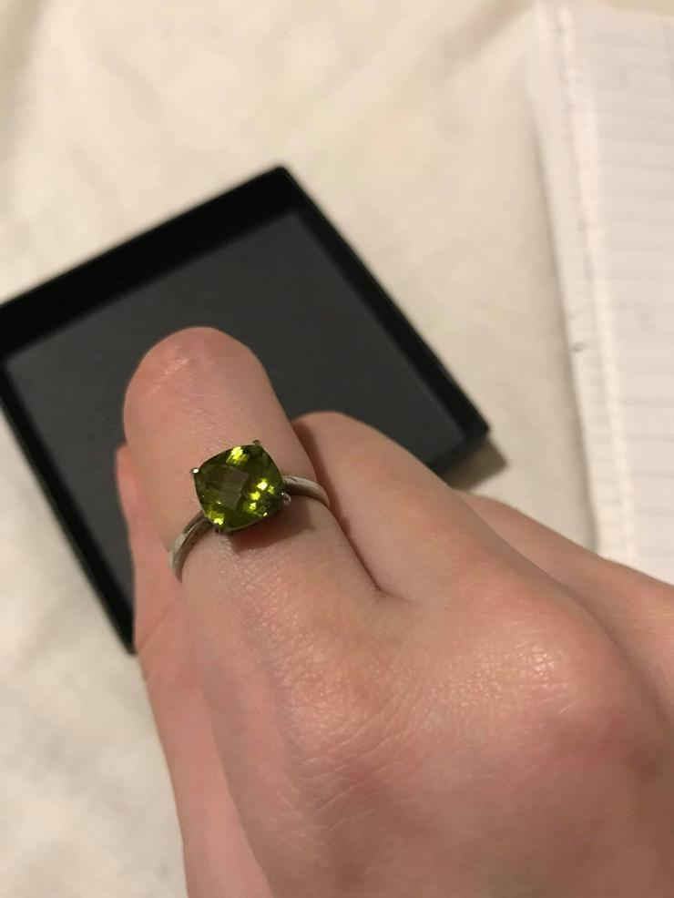 Silber Ring mit grüner Zirkone neuwertig - Ringe - Bild 1