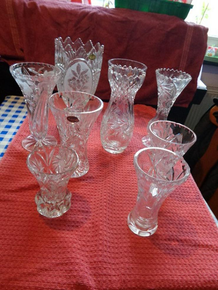 8 Ältere Bleikristall Vase in schwerer Ausführung Handarbeit Höhe 12,5 – 26cm