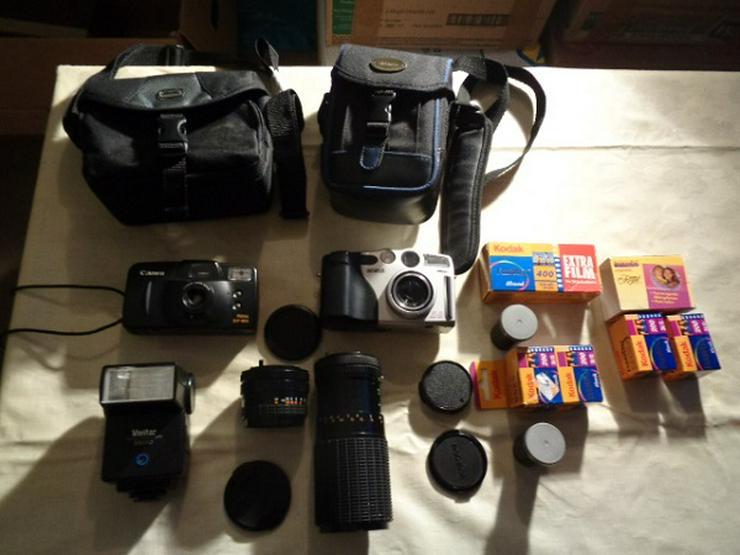 2 Kameras Canon+Casio Digital+2 Objektive+Blitz in Taschen - Digitalkameras (Kompaktkameras) - Bild 1