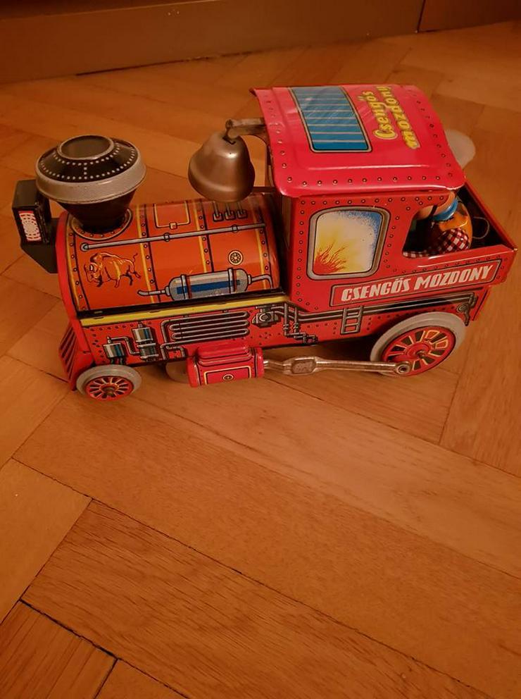Lok Blech mechanisch Csengös Mozdony E.Flim Lemez Made in Ungarn