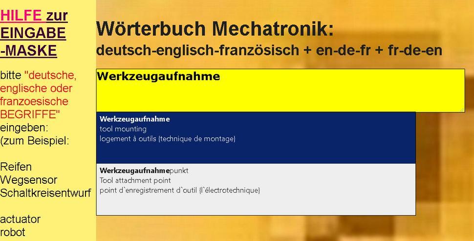 Bild 6: vocabulaire/ dictionnaire mecatronique-composants/ automatisme/ hydraulique