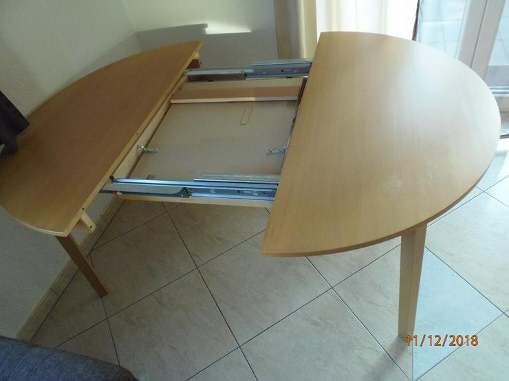Massivholz, Esstisch mit Verlängerung von 4-Sitze zu 6-Sitze, Durchmesser 1,15m + Verlängerung 50 cm