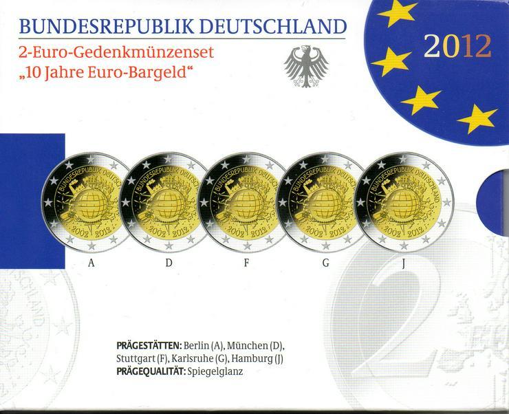 """2 Euro Gedenkmünzensatz, """"2012 - 10 Jahre Euro-Bargeld"""" Spiegelglanz"""