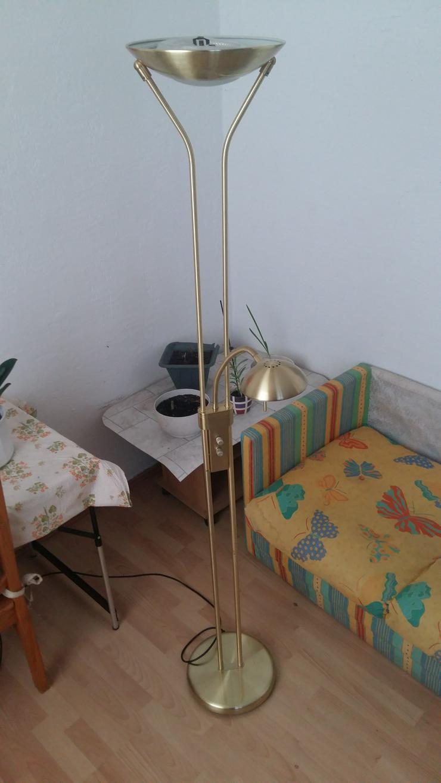 Messing Stehlampe getrennt dimmbar Stehleuchte, Deckenfluter mit Leselampe