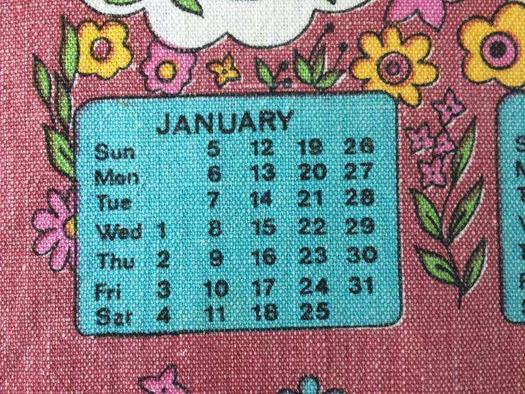 DDR Malimo Stoff Kalender 1975 Geschirrtuch Stoffkalend