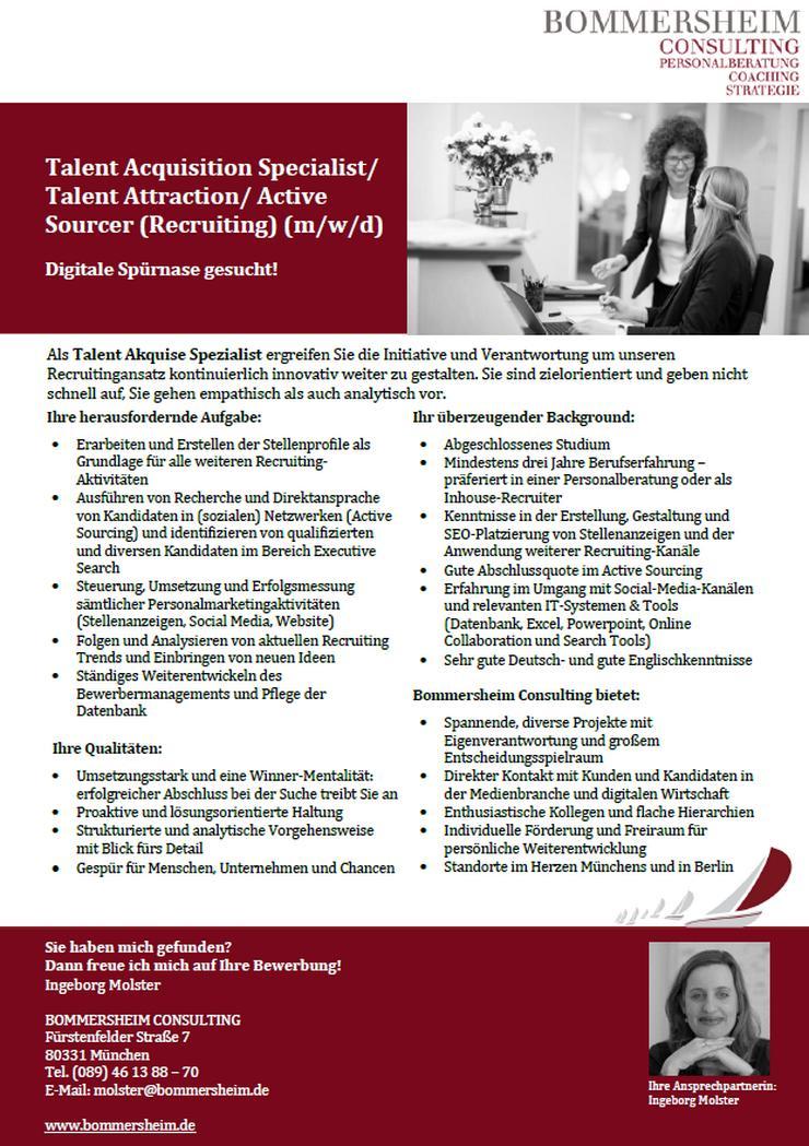 Talent Acquisition Specialist/ Active Sourcer (Recruiting) (m/w/d)