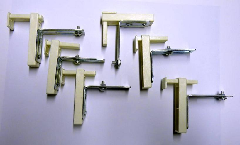 6 Klemmträger für Rollos o. ä. zur Befestigung am Fensterflügel ohne Bohren.