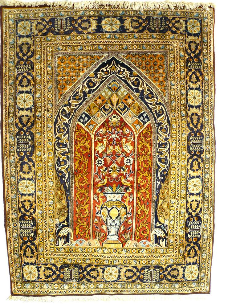 Orientteppich Ghom mit Seide 155x110 (T036)