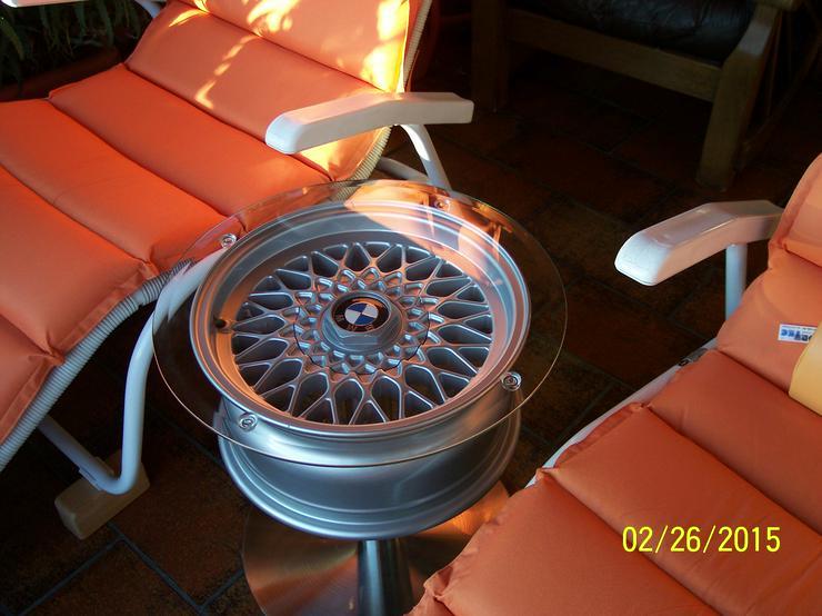 Bild 6: Porsche Felgentisch Glastisch Beistelltisch Neue Porschefelge TOP
