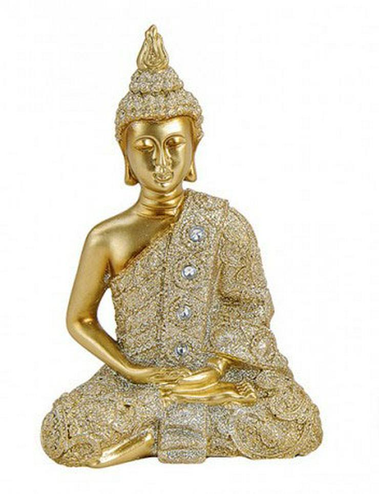Deko Thai Buddha Figur sitzend in Gold - Figuren - Bild 1