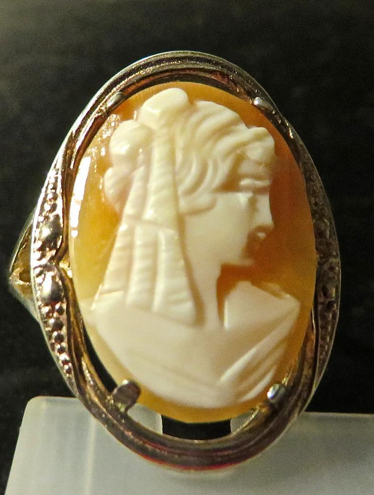 Antiker alter Kamee Jugendstil Ring in silber gefasst