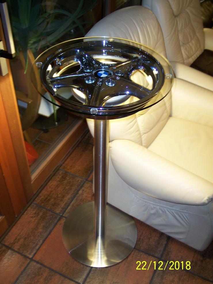 LED Stehleuchte und Stehtisch Edelstahl mit BMW-Felge neu 1580 Lumen