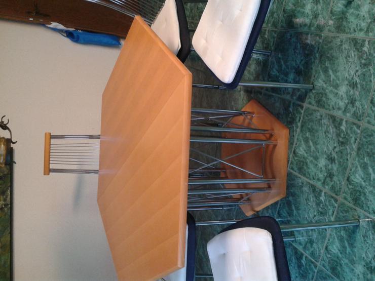 sechseckiger Esstisch 120 cm im Durchmesser, auf 160 cm ausziehbar