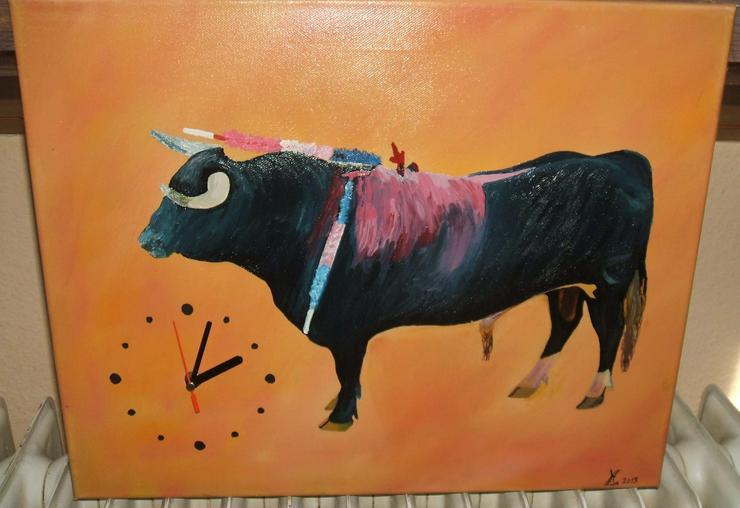 Stier in der Arena- Gemälde - 60 x 40 cm - Gemälde mit Uhr neu!!!