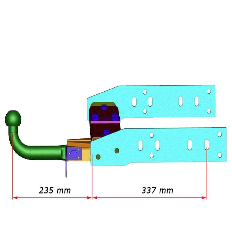 Bild 6: Anhängerkupplung Variabel 12,5 kN inkl. Rahmenverlängerung Normal Fiat Ducato ZFA250 und Elektrokabelsatz für Ihr Wohnmobil / Reisemobil