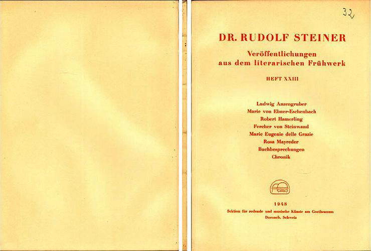 Rudolf Steiner - Veröffentlichungen aus dem literarischen Frühwerk - Heft XXIII - Religion & Lebenshilfe - Bild 1
