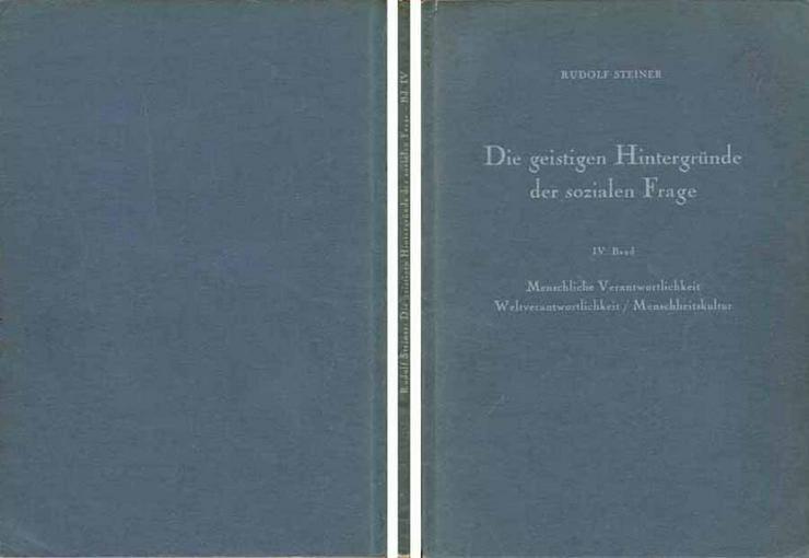Rudolf Steiner - Die geistigen Hintergründe der sozialen Frage - IV. Band - 1951 - Religion & Lebenshilfe - Bild 1