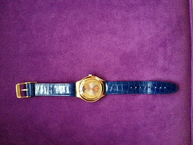 Swatch Irony Uhr mit blauem Lederarmband