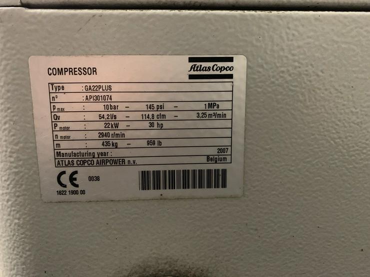 Bild 6: Atlas Copco GA22+ Schraubenkompressor, Tank & Trockner Bj:2007
