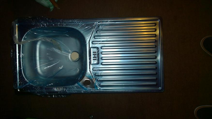 Edelstahlspüle mit 1 Becken u. Ablage  43x86 cm ohne Schrank