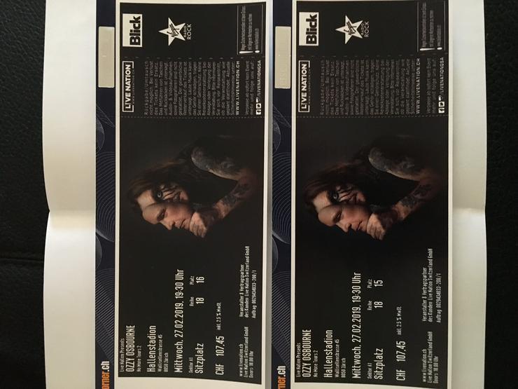 2 Ozzy Osbourne Sitzplätze A1, 27.02.2019 Zürich
