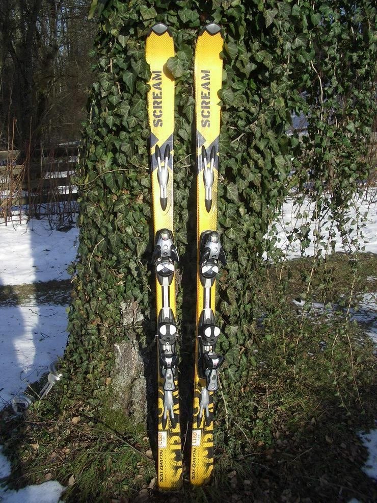 Trendig, knallig gelbmetallic Salomon Scream Carver 1,69, Radius16 mit Salomon S810 Spheric Technology Bindung - Ski & Skistöcke - Bild 1