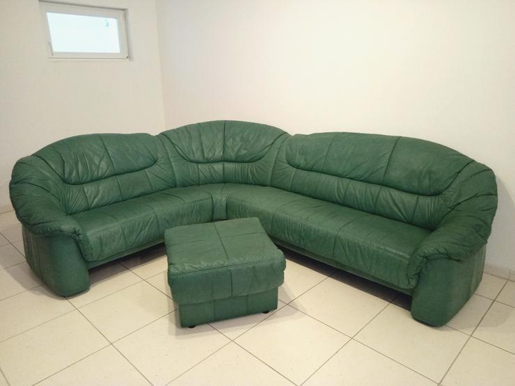 Echt Leder Sofa Couch Hocker grün Ledersofa Ledercouch L-Form
