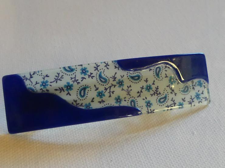 blaue Haarspange mit Blumen (auch zu verschicken)