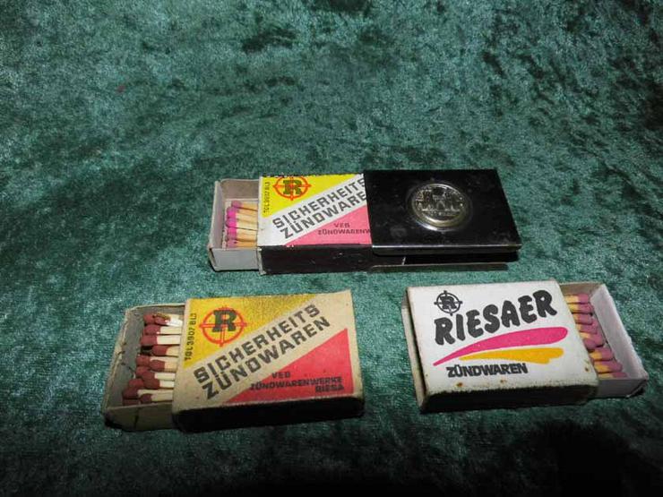 DDR Streichholzhalter Potsdam + 3 Streichholz Schachteln RIESAER Zündwaren