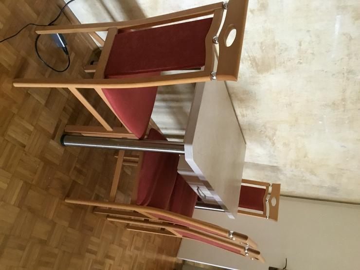 4 rot gepolsterte Stühle (Buche natur) zu verkaufen