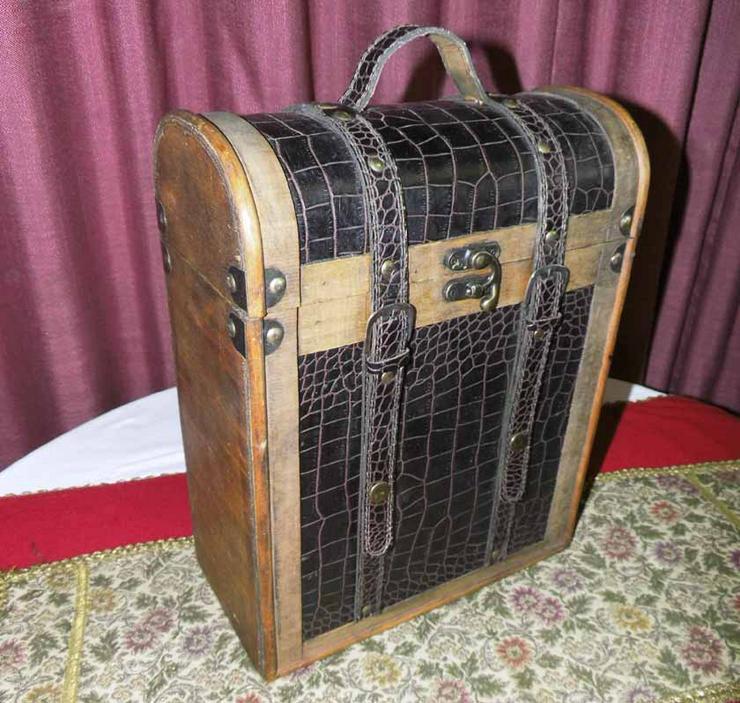 Schöner Weinkoffer - box 3 Fl., Antik Design / Holz + Leder / Geschenkidee / NEU