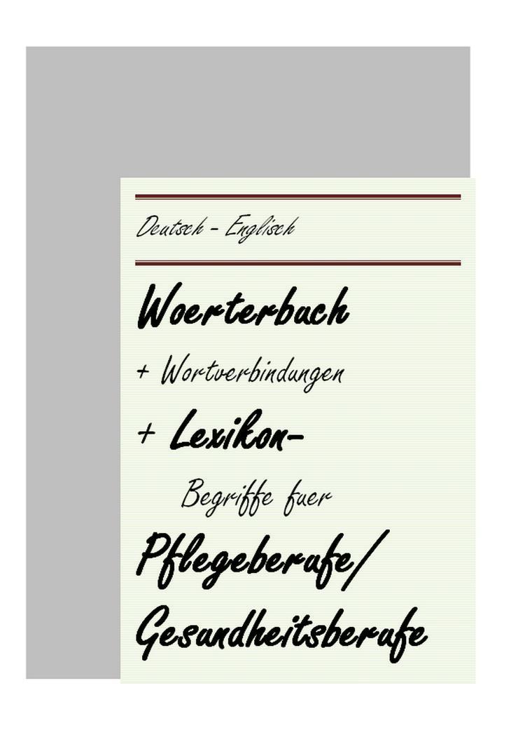 Krankenpfleger Altenpfleger Gesundheitsberufe: englisch Woerterbuch Lexikon-Begriffe