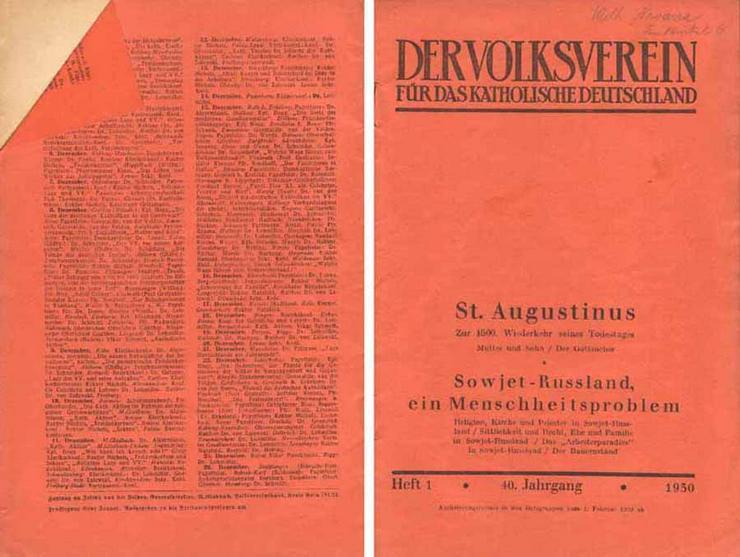 Der Volksverein für das katholische Deutschland - Heft 1 - 40. Jahrgang 1930