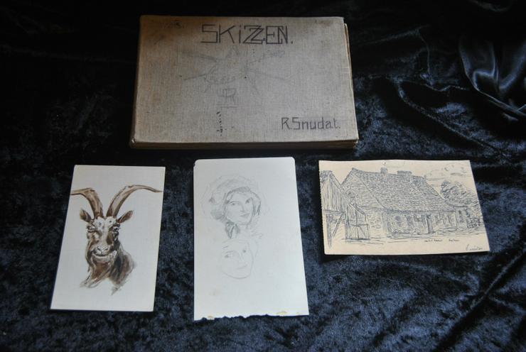 Skizzenbuch 1909 -1911 original Zeichnungen Gebäude Bäumen