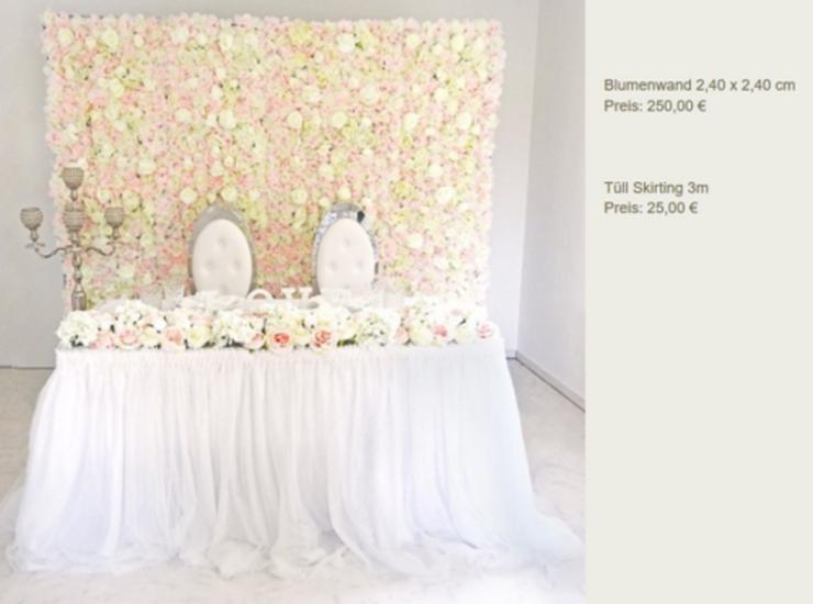 Vermietung Blumen Wand Hochzeit