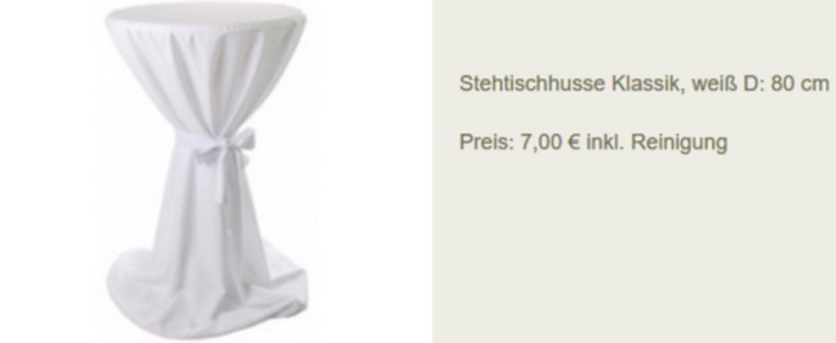 Vermietung Stehtisch Hussen