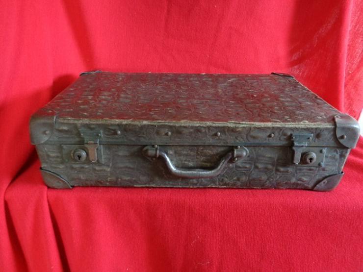 Alter Antiker Leder+Holz+Metall Koffer ALT VOR 1930