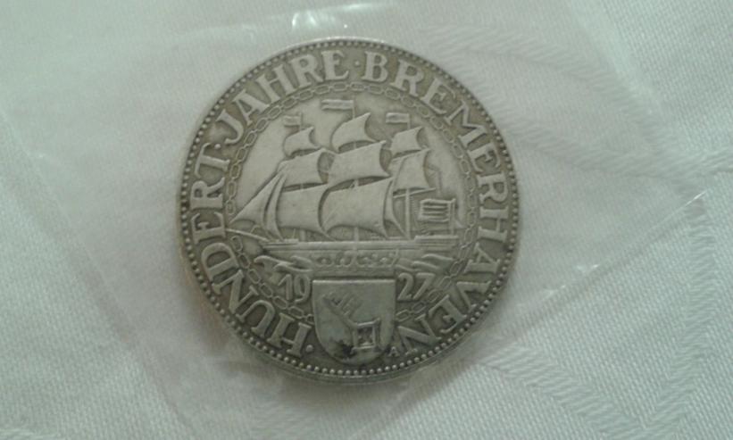 Bild 2: Weimarer Republik 5 Reichsmark - Bremerhafen -