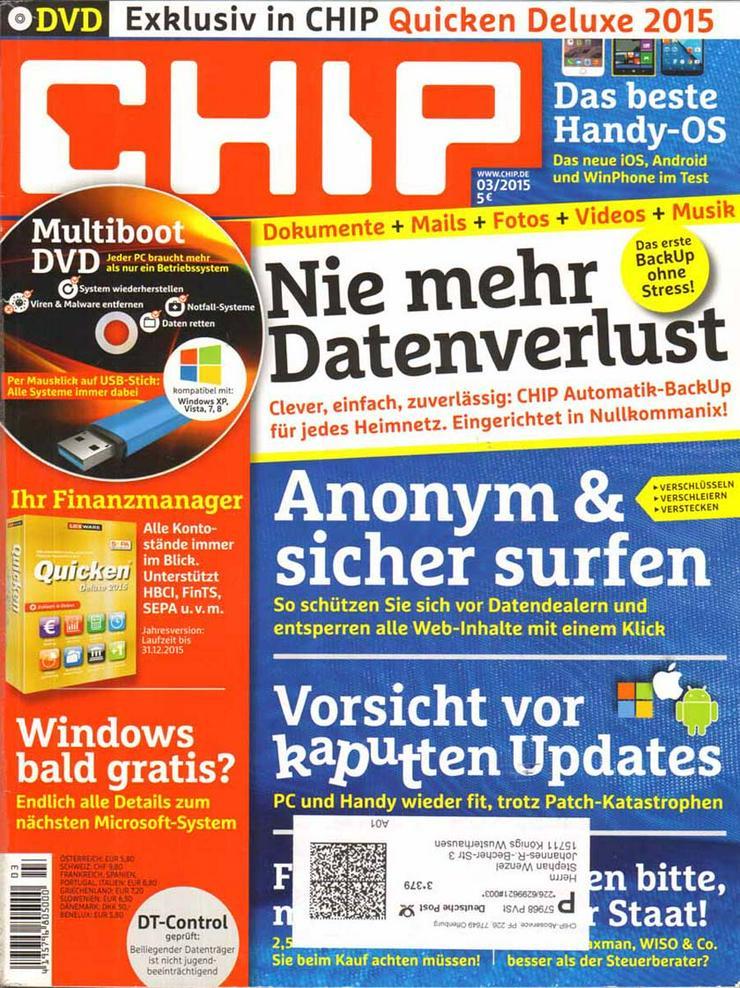 Computerzeitschrift CHIP 03/2015 mit Original-DVD