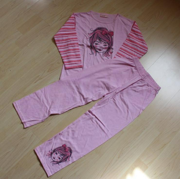 Mädchen Schlafanzug Kinder Pyjama Set lang Hausanzug rosa 116 NEU