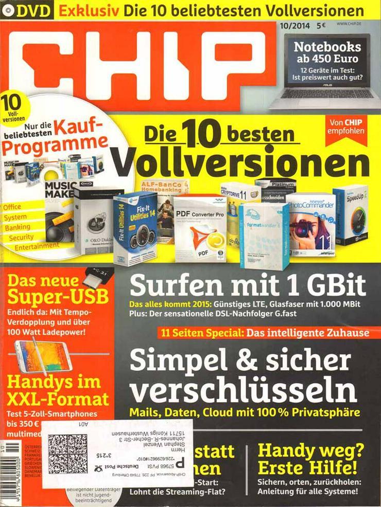 Computerzeitschrift CHIP 10/2014 mit Original-DVD