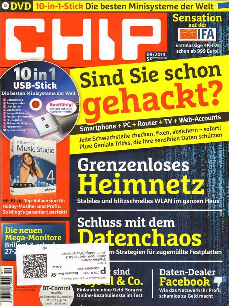 Computerzeitschrift CHIP 09/2014 mit Original-DVD