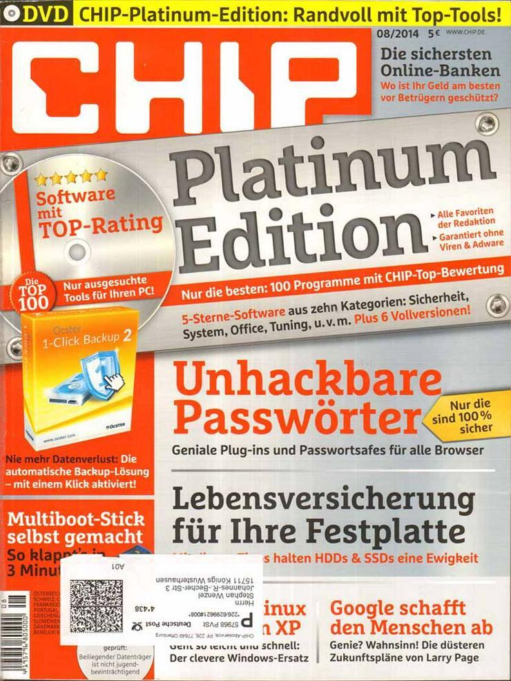 Computerzeitschrift CHIP 08/2014 mit Original-DVD