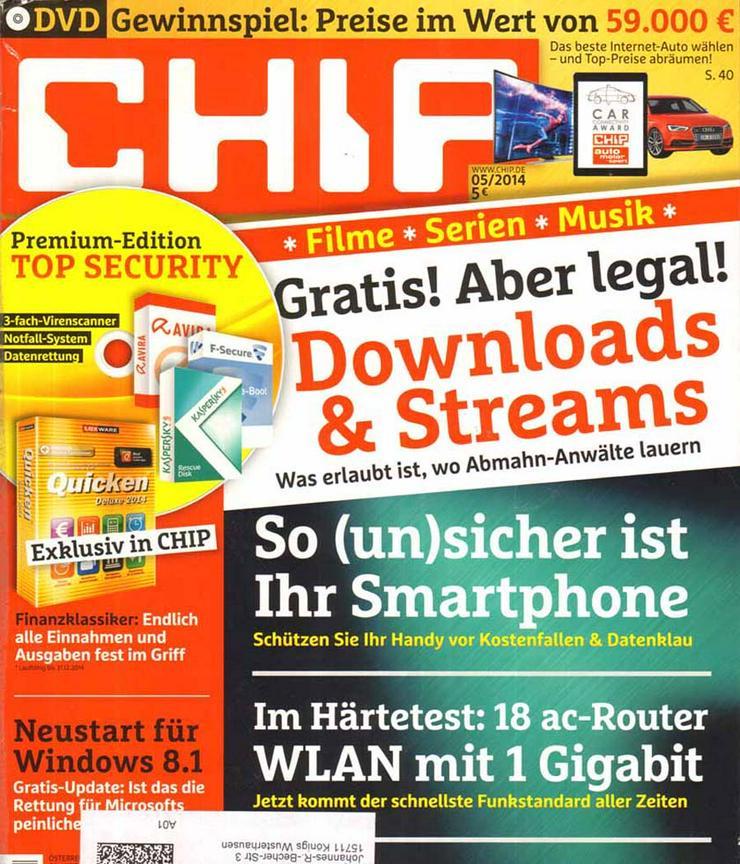 Computerzeitschrift CHIP 05/2014 mit Original-DVD