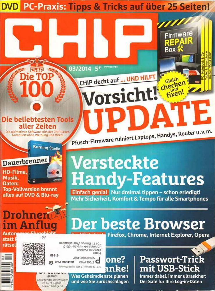 Computerzeitschrift CHIP 03/2014 mit Original-DVD