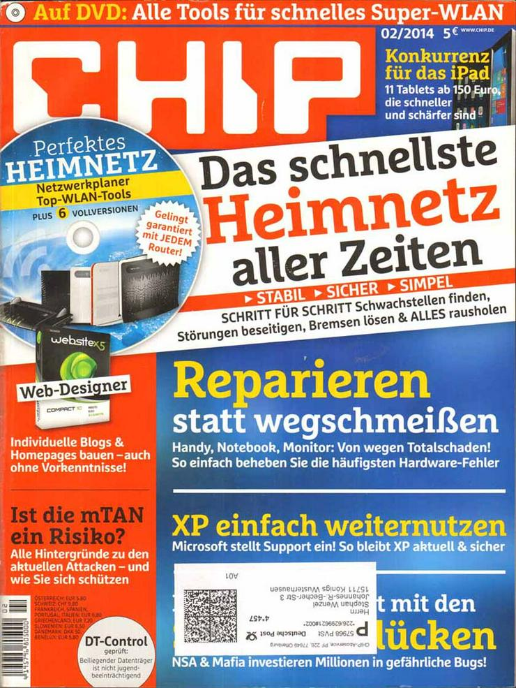 Computerzeitschrift CHIP 02/2014 mit Original-DVD