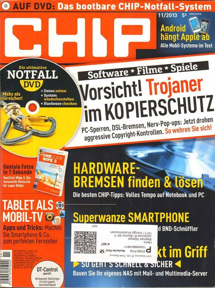 Computerzeitschrift CHIP 11/2013 mit Original-DVD