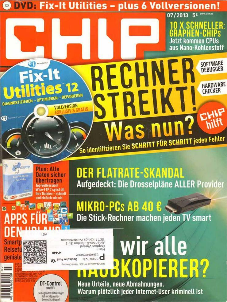 Computerzeitschrift CHIP 07/2013 mit Original-DVD