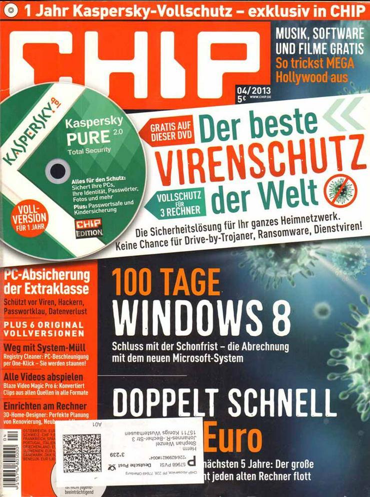 Computerzeitschrift CHIP 04/2013 mit Original-DVD
